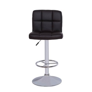 Vogue Furniture Black Quilted Vinyl Adjustable-height Chrome Base and Footrest Barstool