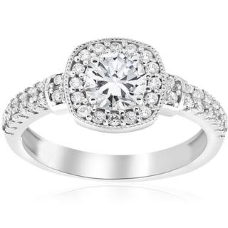 14k White Gold 1 ct TDW Diamond Cushion Halo Vintage Engagement Ring (I-J,I2-I3)
