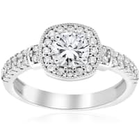 14k White Gold 1 ct TDW Diamond Cushion Halo Vintage Engagement Ring (I-J,I2-I3)