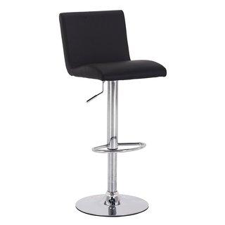 Vogue Furniture Black Leather Teardrop Footring Barstool