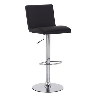 Vogue Furniture Black Leather Teardrop Footring Barstool