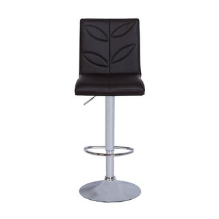 Vogue Furniture Black Leather and Chrome Leaf-print Adjustable Barstool with Teardrop Footring