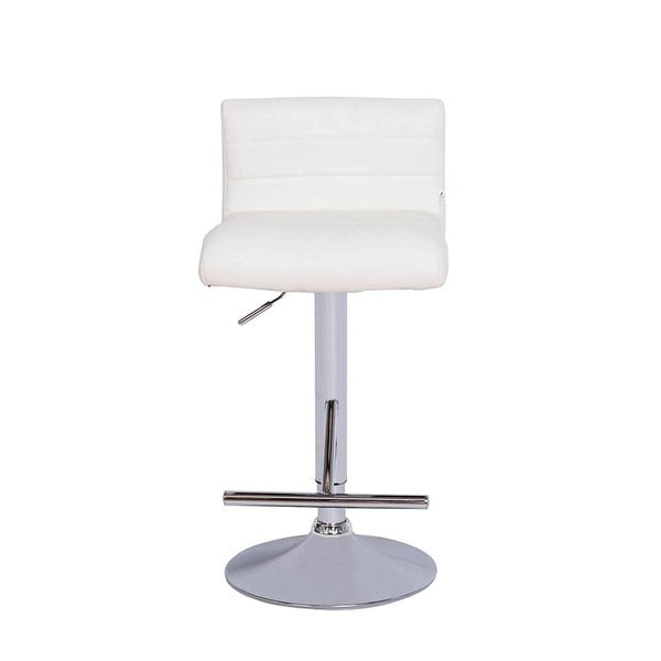 Vogue Furniture Contemporary White Leather Adjustable Bar Stool With Chrome  Base And Footrest