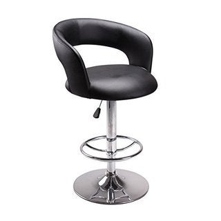Vogue Furniture Contemporary Black Leather Adjustable Height Barstool with Chrome Base and Footing