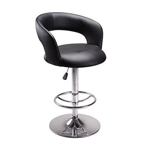 Marvelous Vogue Furniture Contemporary Black Leather Adjustable Height Barstool With Chrome Base And Footing Andrewgaddart Wooden Chair Designs For Living Room Andrewgaddartcom
