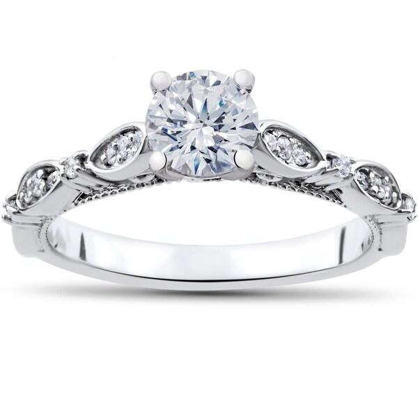 14k White Gold 3/4 ct TDW Diamond Vintage Engagement Ring