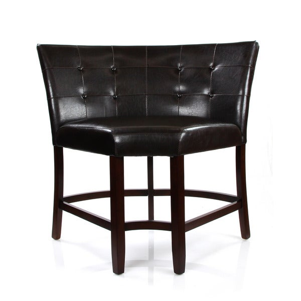 Acme Furniture Bravo Espresso Upholstered Pu Leather Counter Height Corner Chair
