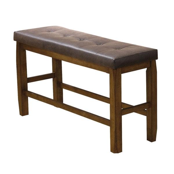 Elegant Acme Furniture Morrison Oak/Brown PU Counter Height Storage Dining Bench