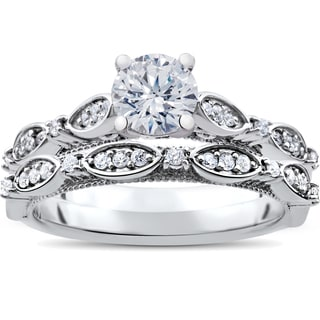 14K White Gold 1 ct TDW Vintage Diamond Engagement Antique Wedding Matching Ring Set