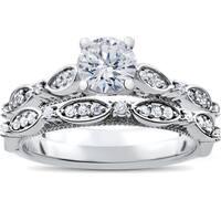 14K White Gold 1 ct TDW Vintage Diamond Engagement Antique Wedding Matching Ring Set