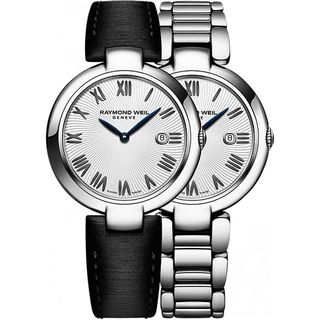 Raymond Weil Women's 1600-ST-00659 'Shine' Extra Black Leather Strap Stainless Steel Watch