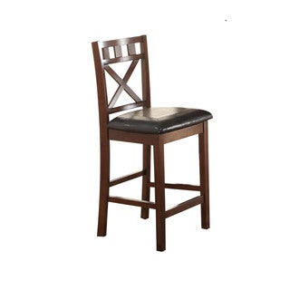 Acme Furniture Weldon Cherry/Black PU Counter-height Chairs (Set of 2)