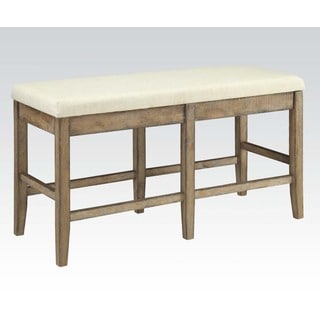 Acme Furniture Claudia Beige Linen and Salvage Brown Rubberwood Counter-height Dining Bench