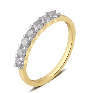 Divina 10K White or Yellow Gold (1/2 ct. TDW) Diamond 7-Stone Wedding Band (I-J, I2-I3)