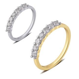 Divina 10K White or Yellow Gold (1/2 ct. TDW) Diamond 7-Stone Wedding Band