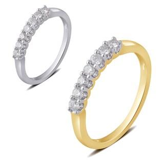 Divina 10k White or Yellow Gold 1/4ct TDW Diamond 7 Stone Wedding Band