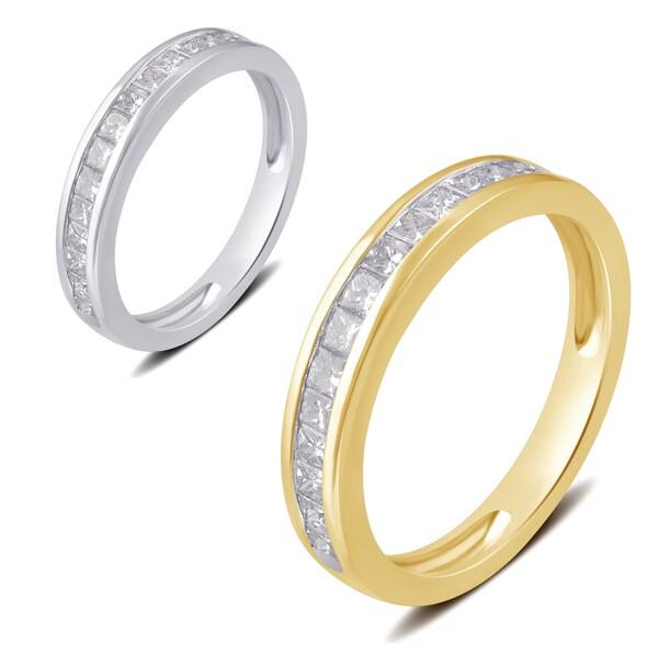 Divina 10k White or Yellow Gold 1/2ct TDW Princess Diamond Wedding Band