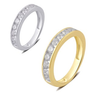 Divina 10k White or Yellow Gold 3/4ct TDW Diamond Wedding Band .