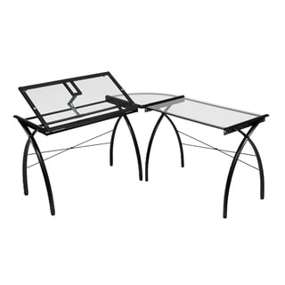 Offex Futura Black/ Clear Glass LS Work Center with Tilt Table