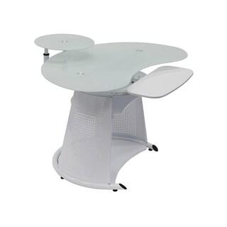 Offex Neptune White / White Glass Computer Desk