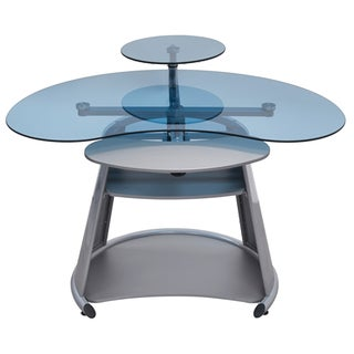 Offex Neptune Silver / Blue Glass Computer Desk