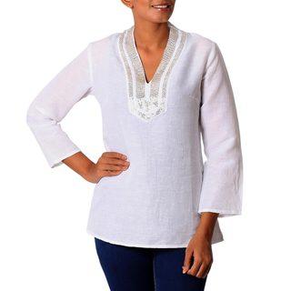 Handmade Linen 'Shining Corona' Tunic (India)