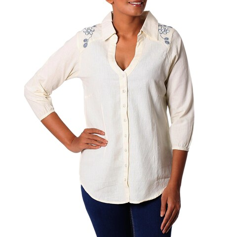 Handmade Cotton Blend 'Ivory Relaxation' Tunic (India)