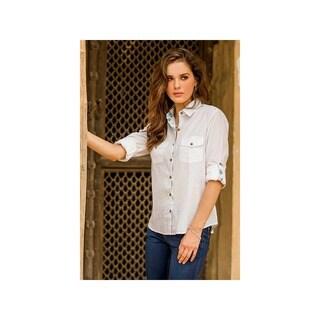 Women's White Cotton Shirt with Blue Floral Trim, 'Floral Accent' Shirt (India)