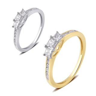 Divina 10k Gold 1/2ct TDW White Diamond 3-Stone Plus Anniversary Ring