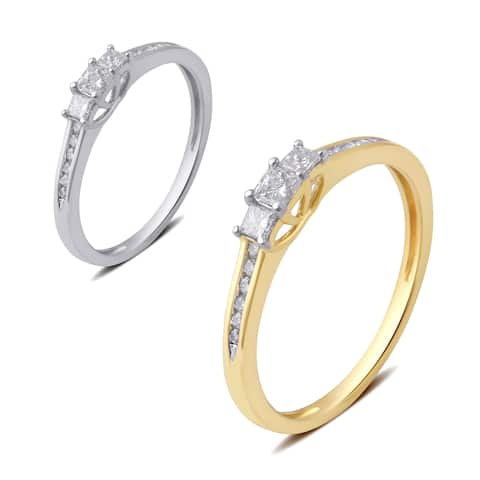 Divina 10k Gold 1/4ct TDW Princess Cut Diamond 3 Stone Plus Anniversary Ring