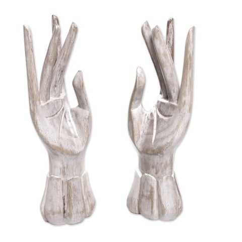 Set of 2 Handmade Wood 'Fairy Hands' Jewelry Holders (Indonesia)