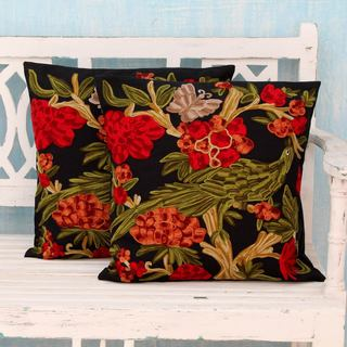 Set of 2 Handmade Cotton 'Midnight in the Garden' Cushion Covers (India)