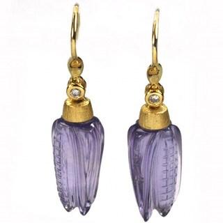 De Buman 18k Yellow Gold Genuine Amethyst and Diamond Earrings (G-H, I1-I2)