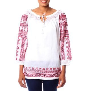 Handmade Cotton 'Sweet Red Romance' Blouse (India)