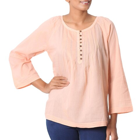 Handmade Cotton 'Mandala Peach' Tunic (India)