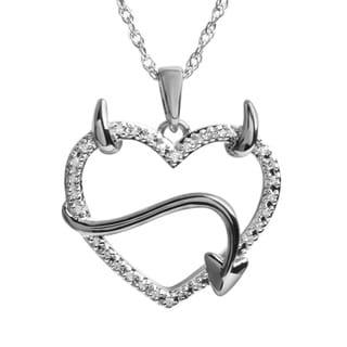 10k White Gold 1/10CTtw Devil Heart Diamond Pendant
