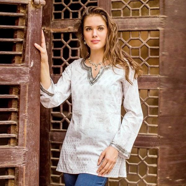761829e8b3e Shop Handmade Cotton 'Silver Diva' Tunic (India) - On Sale - Free ...