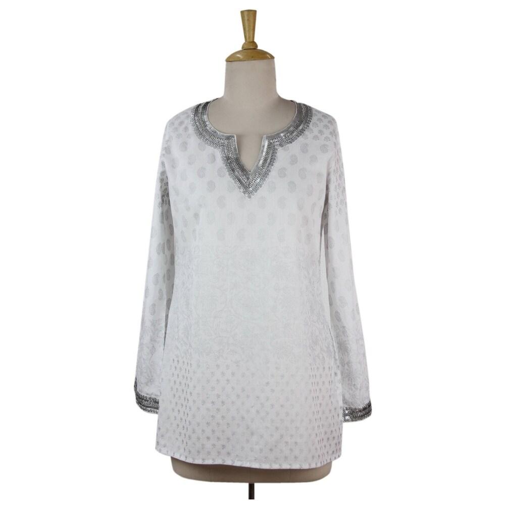 Handmade Cotton Silver Diva Tunic (India)