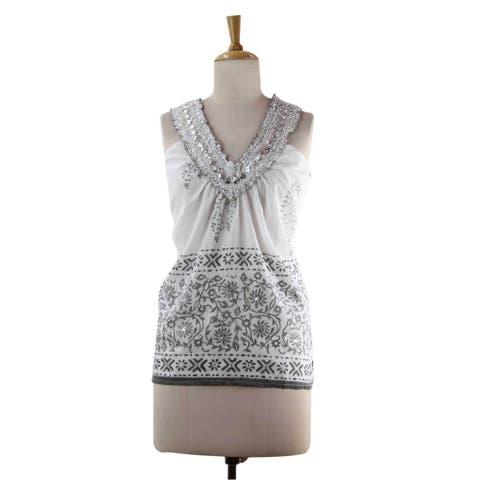 Handmade Cotton 'Silver Sparkle' Blouse