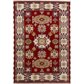 ecarpetgallery Hand-knotted Royal Kazak Red Wool Rug (4'3 x 6'2)