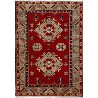 ecarpetgallery Hand-knotted Royal Kazak Red Wool Rug (4'8 x 6'6)