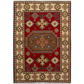ecarpetgallery Hand-knotted Royal Kazak Red Wool Rug (4'2 x 5'10)