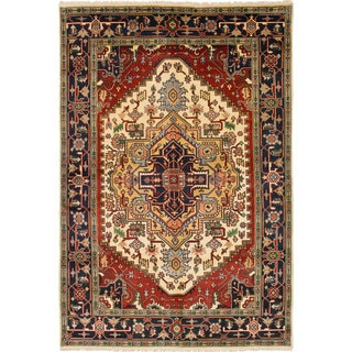 ecarpetgallery Hand-knotted Serapi Heritage Ivory/ Red Wool Rug (6' x 9'2)