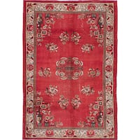 ecarpetgallery Hand-knotted Melis Vintage Red Wool Rug (5'9 x 8'8)
