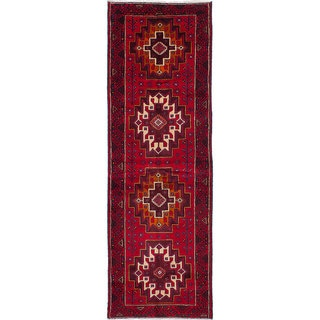 Hand-knotted Finest Baluch Red Wool Rug - 3'4 x 10'6