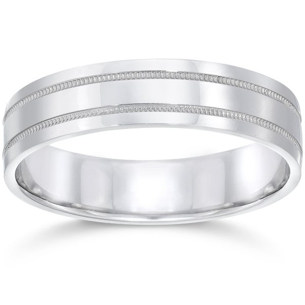 10k White Gold Mens Band 5mm High Polished Doulbe Milgrain Wedding Ring