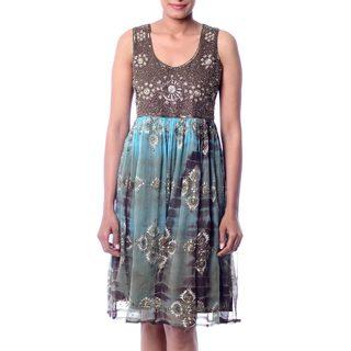 Handmade Viscose Beaded 'Shibori Chic' Dress (India)
