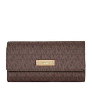 Michael Kors Jet Set Brown Checkbook Wallet