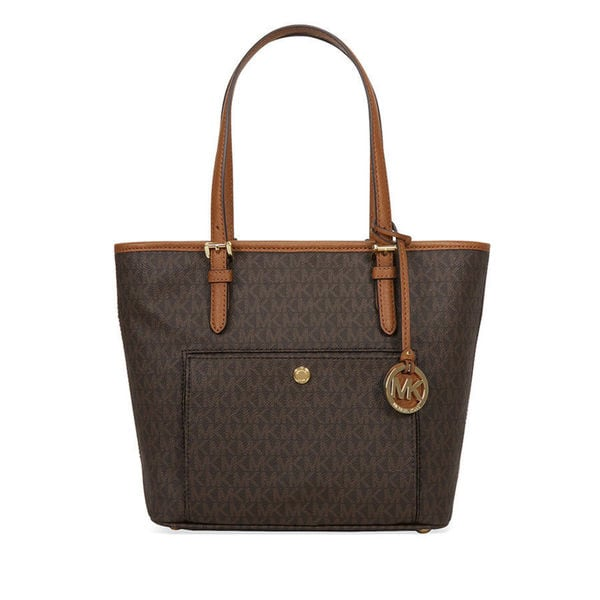 57e9913d3a97 Shop Michael Kors Jet Set Medium Brown Signature Top-zip Logo Tote ...