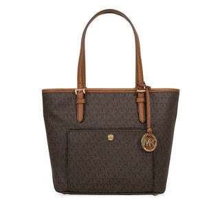 Michael Kors Jet Set Medium Brown Signature Top-zip Logo Tote Bag